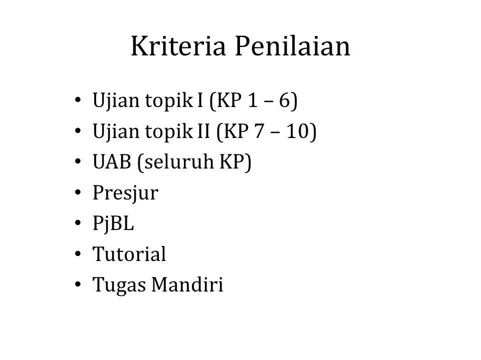 Kriteria Penilaian Ujian topik I (KP 1 – 6) Ujian topik II (KP 7 – 10) UAB (seluruh KP) Presjur PjBL Tutorial Tugas Mandiri