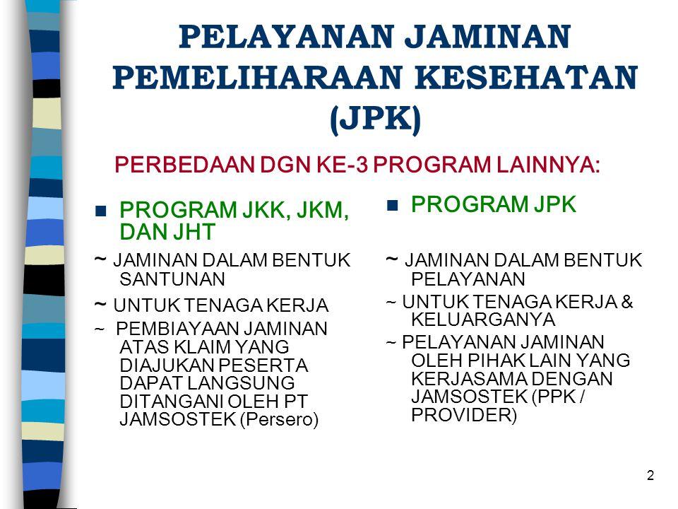 1 PROGRAM JPK ( JAMINAN PEMELIHARAAN KESEHATAN ) PT JAMSOSTEK (PERSERO)