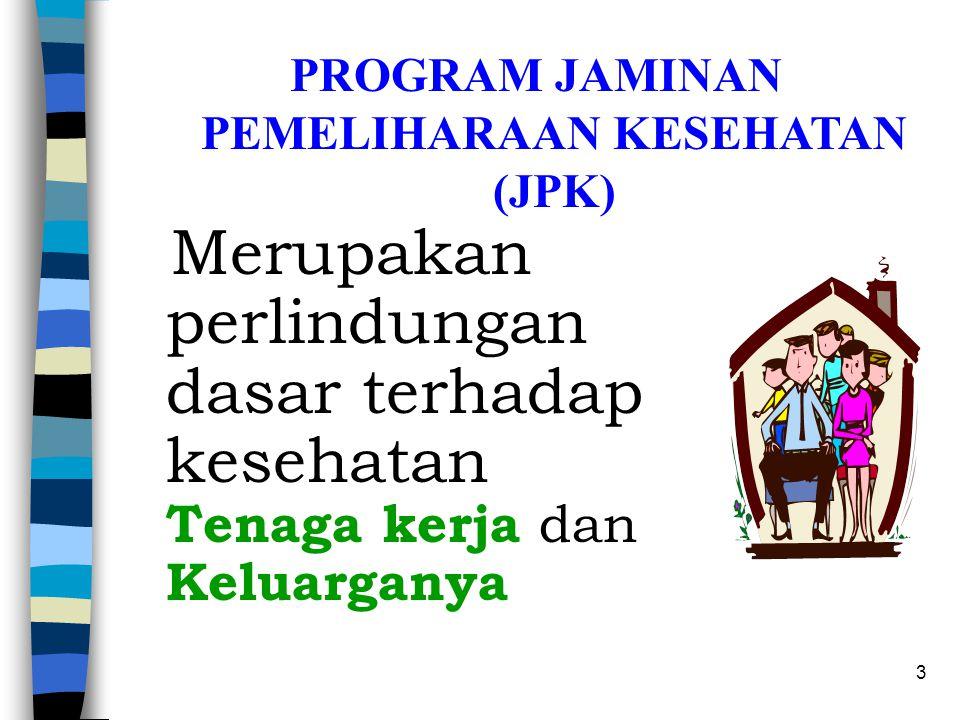 2 PELAYANAN JAMINAN PEMELIHARAAN KESEHATAN (JPK) PROGRAM JKK, JKM, DAN JHT ~ JAMINAN DALAM BENTUK SANTUNAN ~ UNTUK TENAGA KERJA ~ PEMBIAYAAN JAMINAN A