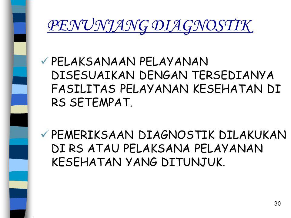 29 PENUNJANG DIAGNOSTIK PELAYANAN PENUNJANG DIAGNOSTIK :  PEMERIKSAAN LABORATORIUM.  PEMERIKSAAN RADIOLOGI.  PEMERIKSAAN :  ELEKTRO ENCEEPHALOGRAP