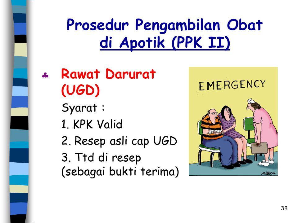 37 Prosedur Pelayanan UGD di PPK II Pulang Mendapat resep KE (ambil di apotik PPK II ber - IKS Keadaan Peserta Syarat : Emergency 1. KPK valid Perinta