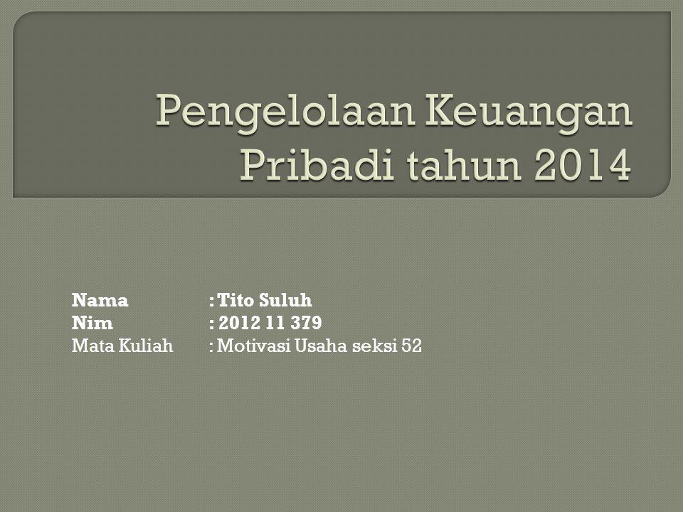 Nama: Tito Suluh Nim: 2012 11 379 Mata Kuliah: Motivasi Usaha seksi 52