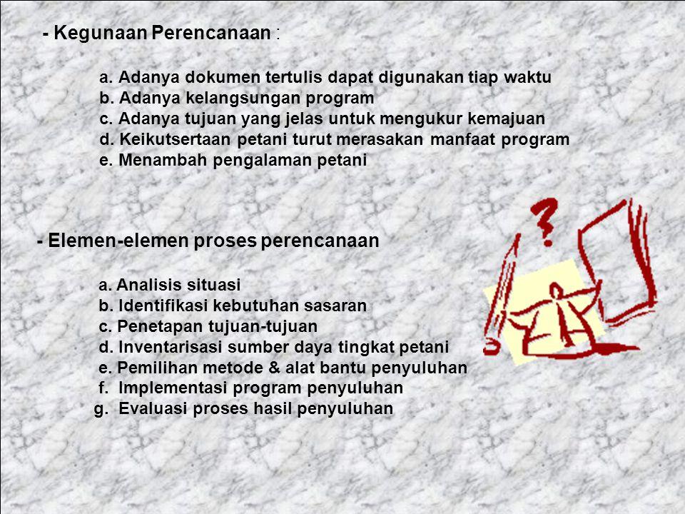 2.Perencanaaan (Planing) a.Apa yang harus dilakukan (what) b.