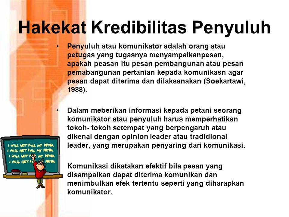 Hakekat Kredibilitas Penyuluh Penyuluh atau komunikator adalah orang atau petugas yang tugasnya menyampaikanpesan, apakah peasan itu pesan pembangunan atau pesan pemabangunan pertanian kepada komunikasn agar pesan dapat diterima dan dilaksanakan (Soekartawi, 1988).
