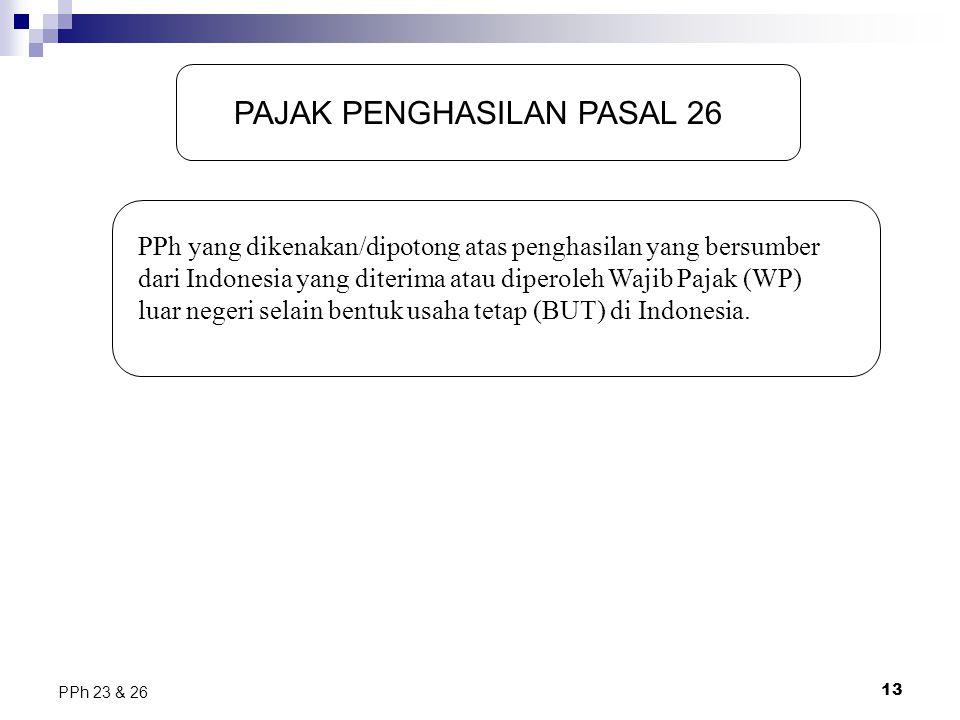 13 PPh 23 & 26 PAJAK PENGHASILAN PASAL 26 PPh yang dikenakan/dipotong atas penghasilan yang bersumber dari Indonesia yang diterima atau diperoleh Waji