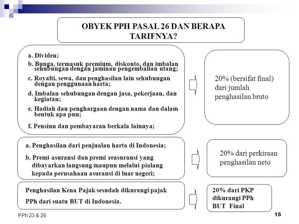 15 PPh 23 & 26 OBYEK PPH PASAL 26 DAN BERAPA TARIFNYA? a. Dividen; b. Bunga, termasuk premium, diskonto, dan imbalan sehubungan dengan jaminan pengemb