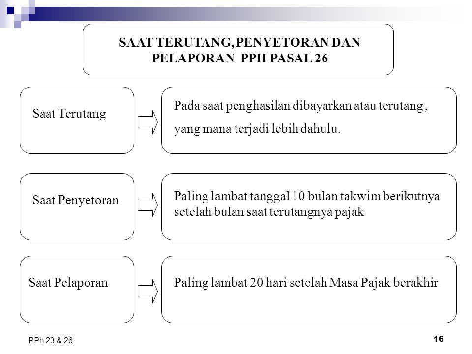 16 PPh 23 & 26 SAAT TERUTANG, PENYETORAN DAN PELAPORAN PPH PASAL 26 Pada saat penghasilan dibayarkan atau terutang, yang mana terjadi lebih dahulu. Sa