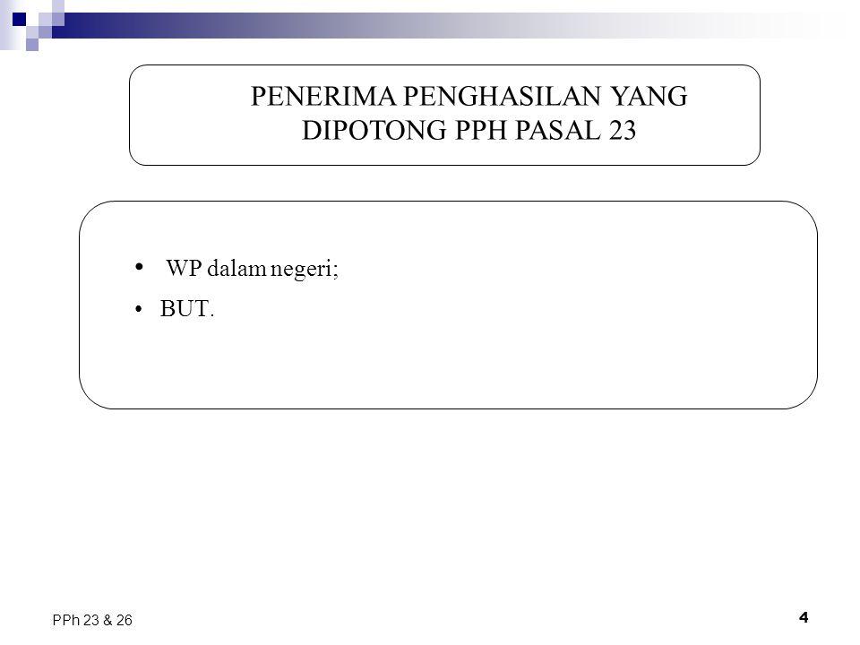 4 PPh 23 & 26 PENERIMA PENGHASILAN YANG DIPOTONG PPH PASAL 23 WP dalam negeri; BUT.
