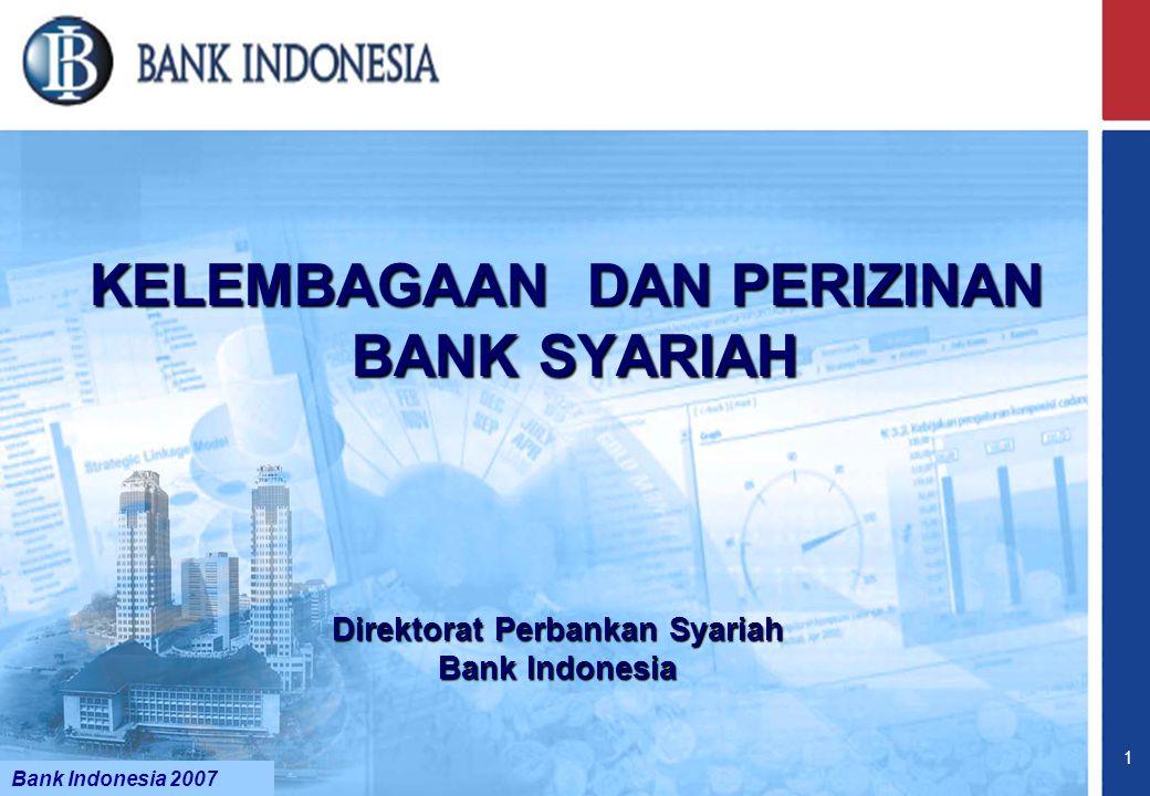 Bank Indonesia @ 2005 21 BOD DIVISI SYARIAH (UUS) DIVISI KC Konvensional KC Syariah STRUKTUR JARINGAN KANTOR UUS DIVISI KCP SyariahKK Syariah DIVISI KCP Konvensional US KLS DPS KELEMBAGAAN & PERIZINAN BANK SYARIAH