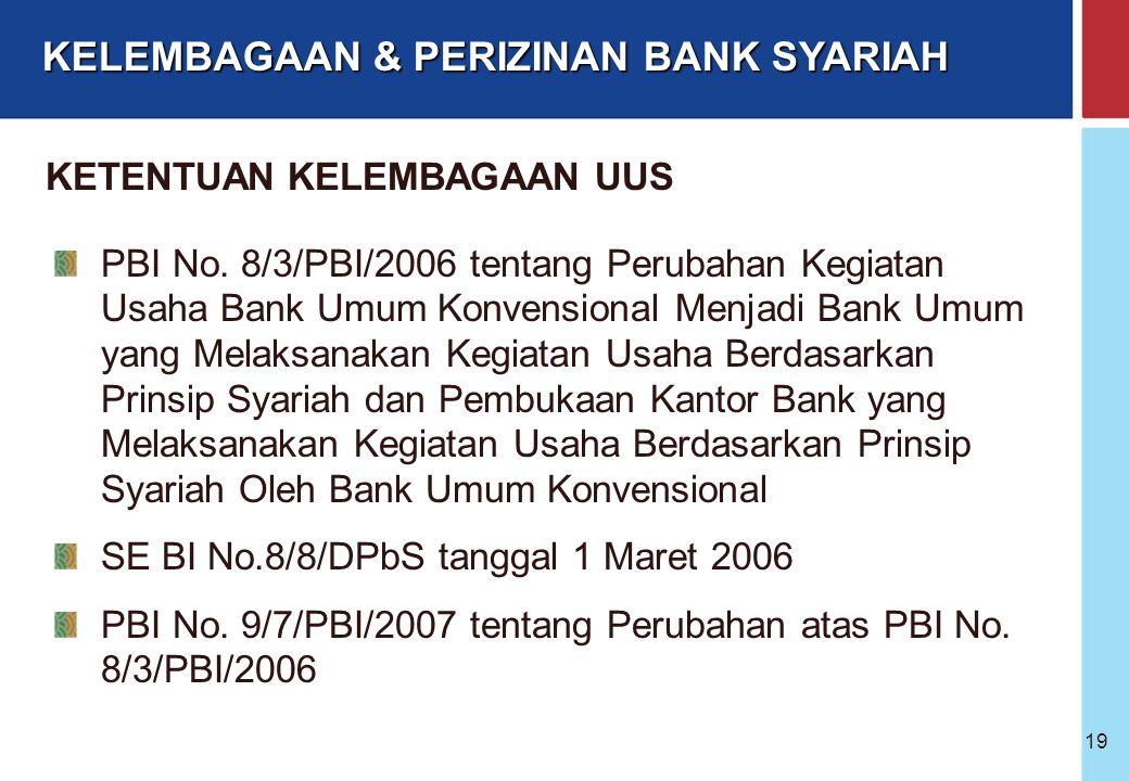 Bank Indonesia @ 2005 18 KANTOR PUSAT BUS KC Syariah KC Syariah LN KPw KCP Syariah KK Syariah Unit Pelayanan Syariah - ATM, Payment Point dll Keg. Kas