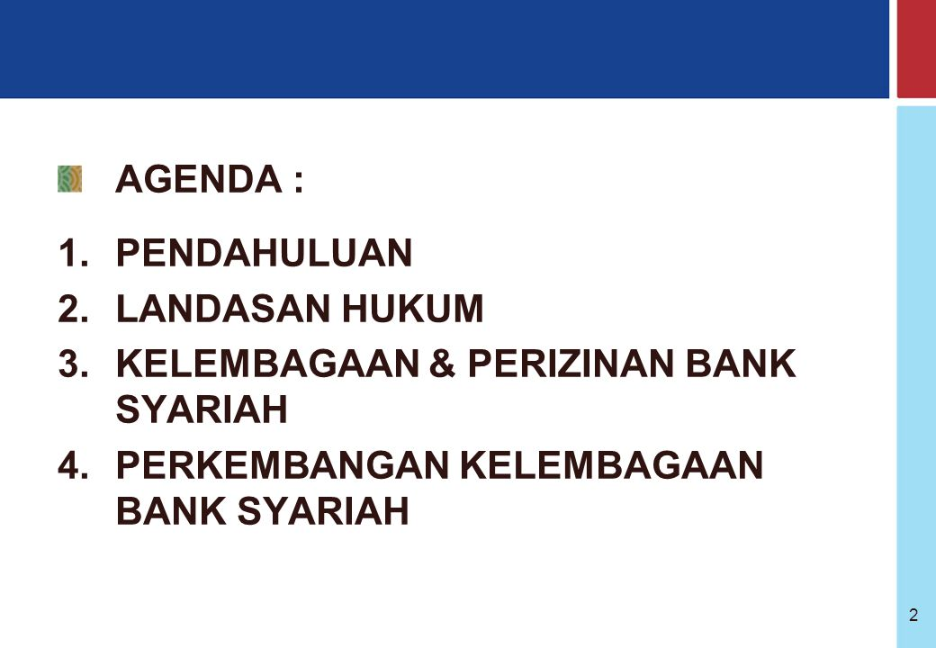 Bank Indonesia @ 2005 32 PERKEMBANGAN PERBANKAN SYARIAH INDONESIA SEJAK 1990 Lokakarya MUI Pengenalan Dual banking system Diperbolehkannya bank beroperasi secara dual system BI membuat dan menetapkan peraturan kelembagaan perbankan syariah Pengembangan PUAS & SWBI Peserta sepakat untuk segera mendirikan bank syariah Bank Muamalat Indonesia berdiri sebagai hasil dari pertemuan tahunan MUI pd bulan Agustus 1990 UU no.