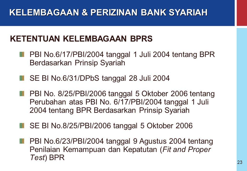 Bank Indonesia @ 2005 22 Bank Yang Telah Membuka UUS dapat membuka KCS dengan cara : Buka KCS baru Konversi KCK → KCS Meningkatkan Status KCPK → KCS K