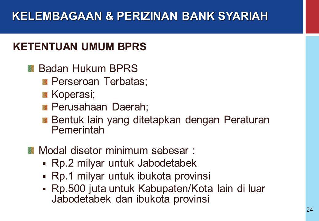 Bank Indonesia @ 2005 23 PBI No.6/17/PBI/2004 tanggal 1 Juli 2004 tentang BPR Berdasarkan Prinsip Syariah SE BI No.6/31/DPbS tanggal 28 Juli 2004 PBI