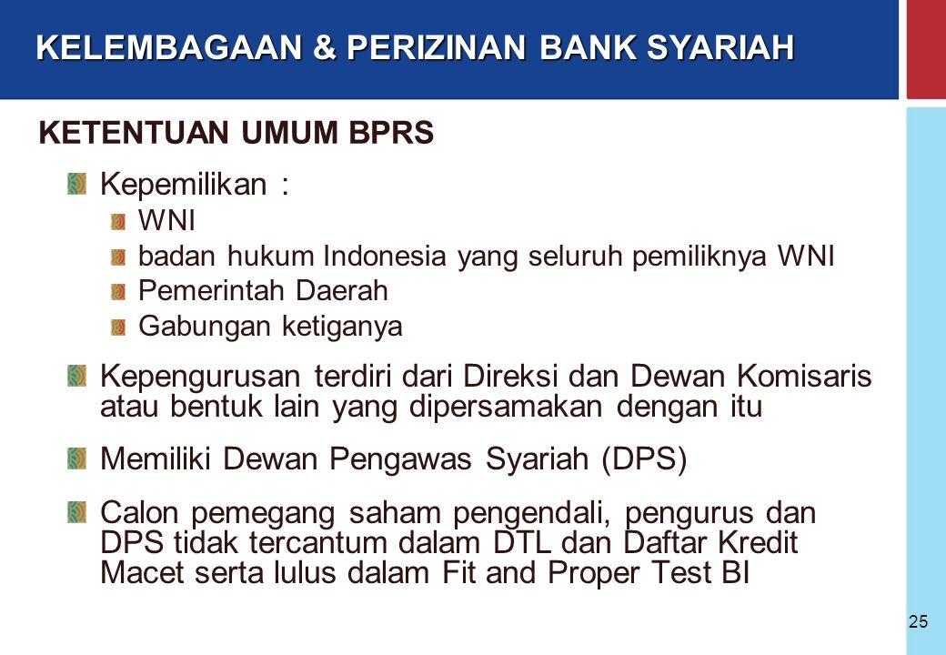 Bank Indonesia @ 2005 24 Badan Hukum BPRS Perseroan Terbatas; Koperasi; Perusahaan Daerah; Bentuk lain yang ditetapkan dengan Peraturan Pemerintah Mod