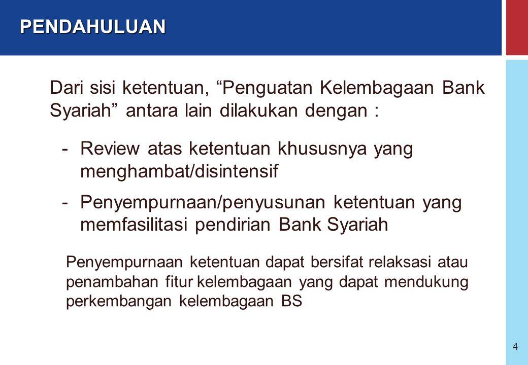 4 Dari sisi ketentuan, Penguatan Kelembagaan Bank Syariah antara lain dilakukan dengan : -Review atas ketentuan khususnya yang menghambat/disintensif -Penyempurnaan/penyusunan ketentuan yang memfasilitasi pendirian Bank Syariah Penyempurnaan ketentuan dapat bersifat relaksasi atau penambahan fitur kelembagaan yang dapat mendukung perkembangan kelembagaan BS PENDAHULUAN