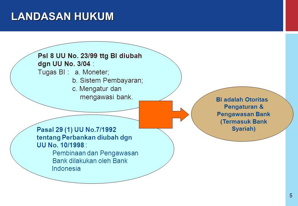 Bank Indonesia @ 2005 25 Kepemilikan : WNI badan hukum Indonesia yang seluruh pemiliknya WNI Pemerintah Daerah Gabungan ketiganya Kepengurusan terdiri dari Direksi dan Dewan Komisaris atau bentuk lain yang dipersamakan dengan itu Memiliki Dewan Pengawas Syariah (DPS) Calon pemegang saham pengendali, pengurus dan DPS tidak tercantum dalam DTL dan Daftar Kredit Macet serta lulus dalam Fit and Proper Test BI KELEMBAGAAN & PERIZINAN BANK SYARIAH KETENTUAN UMUM BPRS