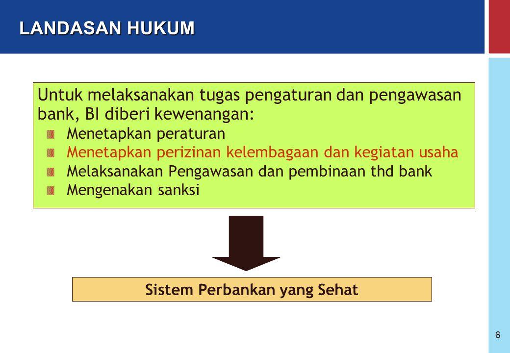 Bank Indonesia @ 2005 6 Untuk melaksanakan tugas pengaturan dan pengawasan bank, BI diberi kewenangan: Menetapkan peraturan Menetapkan perizinan kelembagaan dan kegiatan usaha Melaksanakan Pengawasan dan pembinaan thd bank Mengenakan sanksi Sistem Perbankan yang Sehat LANDASAN HUKUM