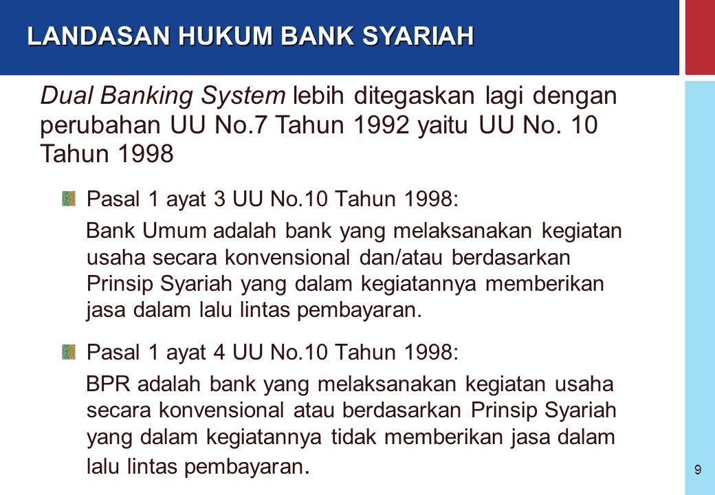 """Bank Indonesia @ 2005 8 Sejak adanya UU No. 7 Tahun 1992 sistem perbankan Indonesia mulai menggunakan """"dual banking system"""" yaitu: - Bank Konvensional"""