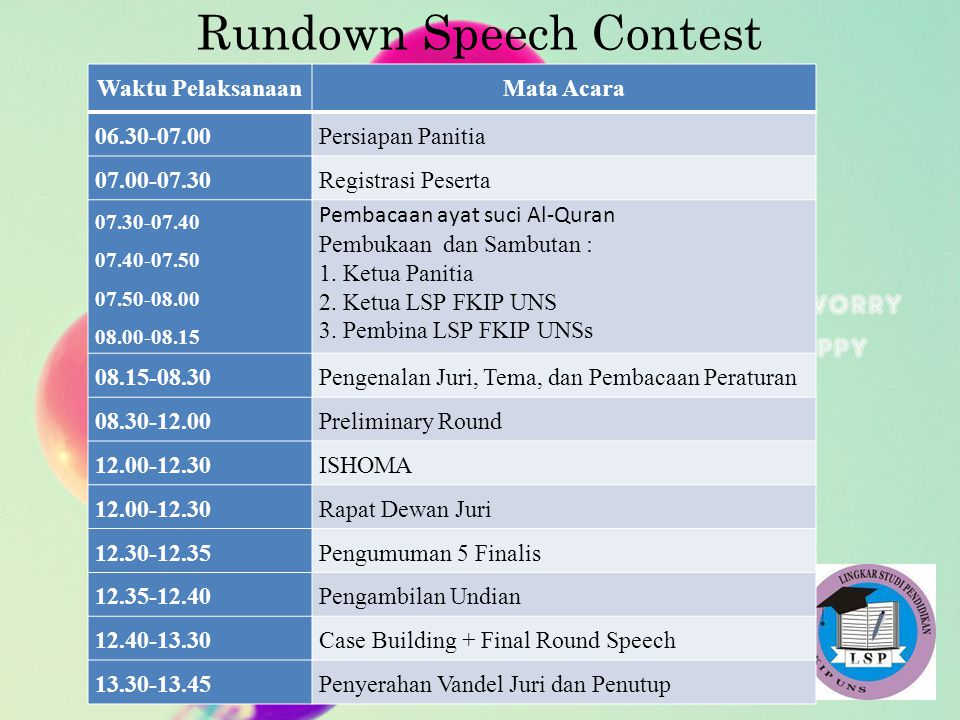 Rundown Speech Contest Waktu PelaksanaanMata Acara 06.30-07.00Persiapan Panitia 07.00-07.30Registrasi Peserta 07.30-07.40 07.40-07.50 07.50-08.00 08.0