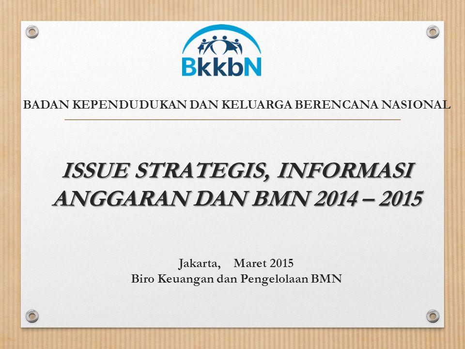 ISSUE STRATEGIS, INFORMASI ANGGARAN DAN BMN 2014 – 2015 BADAN KEPENDUDUKAN DAN KELUARGA BERENCANA NASIONAL ISSUE STRATEGIS, INFORMASI ANGGARAN DAN BMN 2014 – 2015 Jakarta, Maret 2015 Biro Keuangan dan Pengelolaan BMN