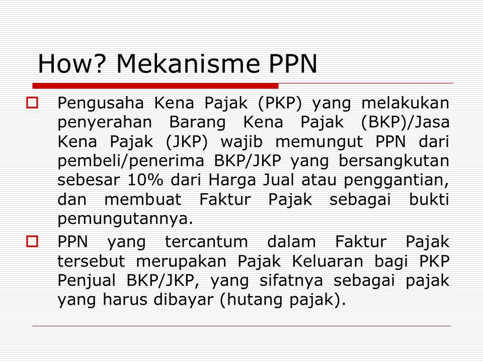 How? Mekanisme PPN  Pengusaha Kena Pajak (PKP) yang melakukan penyerahan Barang Kena Pajak (BKP)/Jasa Kena Pajak (JKP) wajib memungut PPN dari pembel