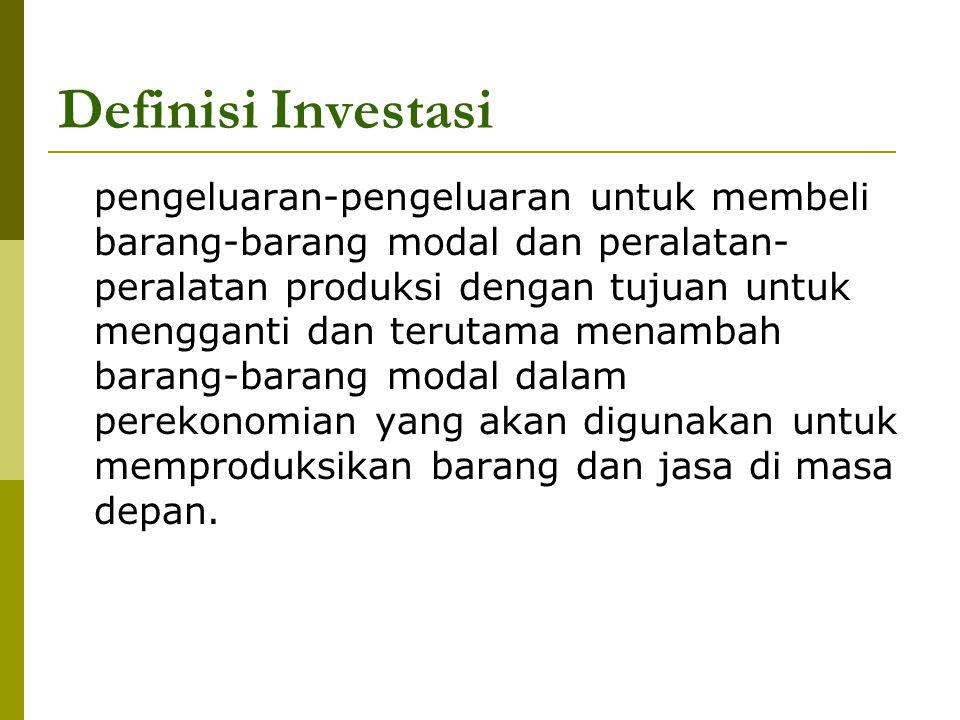 Definisi Investasi pengeluaran-pengeluaran untuk membeli barang-barang modal dan peralatan- peralatan produksi dengan tujuan untuk mengganti dan terut