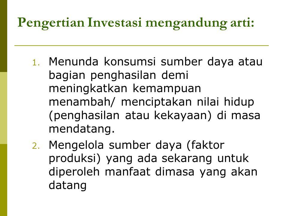 Pengertian Investasi mengandung arti: 1. Menunda konsumsi sumber daya atau bagian penghasilan demi meningkatkan kemampuan menambah/ menciptakan nilai