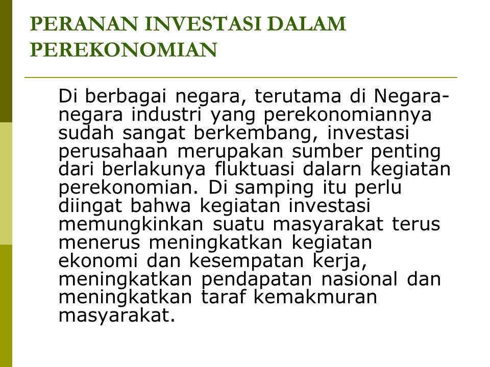 PERANAN INVESTASI DALAM PEREKONOMIAN Di berbagai negara, terutama di Negara- negara industri yang perekonomiannya sudah sangat berkembang, investasi p