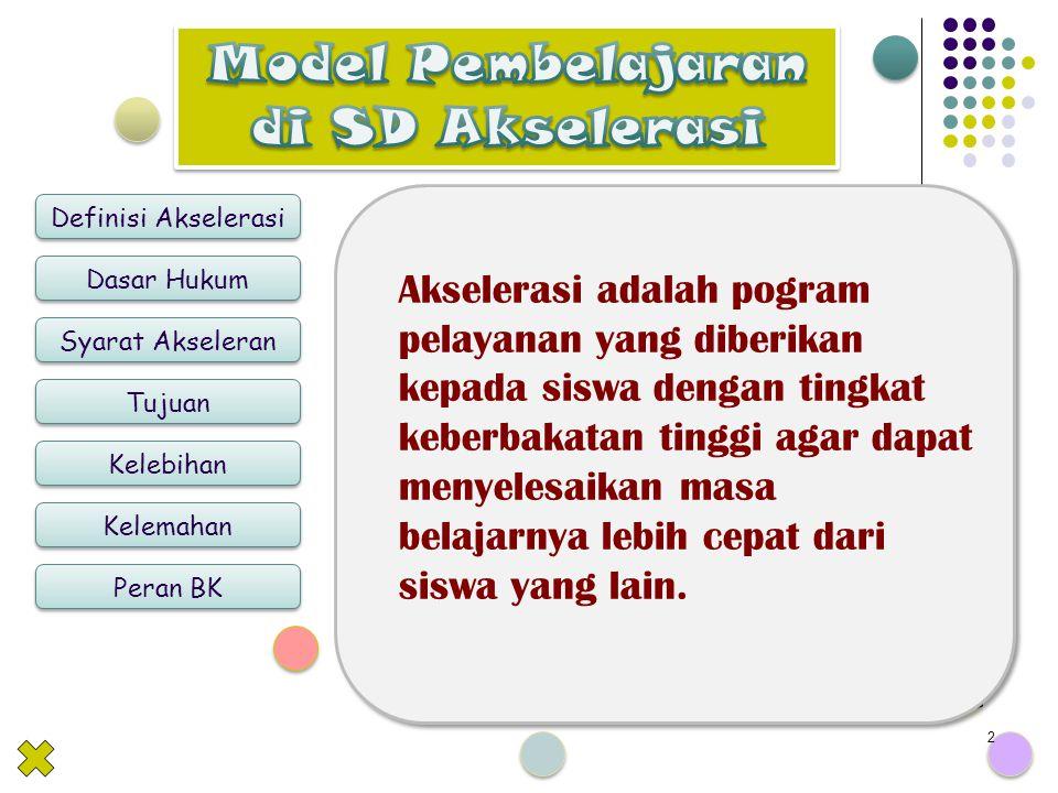 By Siti Maesyaroh Definisi Akselerasi Dasar Hukum Syarat Akseleran Tujuan Kelebihan Kelemahan Peran BK 2 Akselerasi adalah pogram pelayanan yang diberikan kepada siswa dengan tingkat keberbakatan tinggi agar dapat menyelesaikan masa belajarnya lebih cepat dari siswa yang lain.