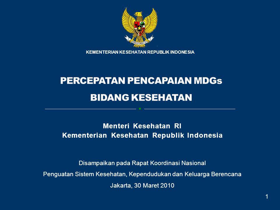 Disampaikan pada Rapat Koordinasi Nasional Penguatan Sistem Kesehatan, Kependudukan dan Keluarga Berencana Jakarta, 30 Maret 2010 KEMENTERIAN KESEHATA