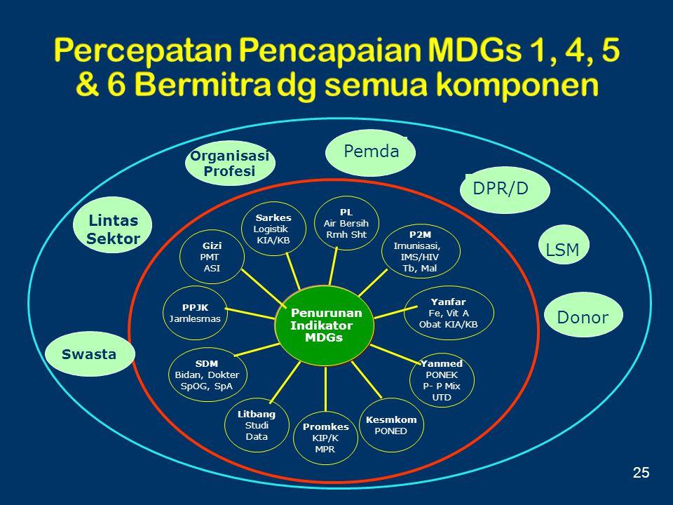 Lintas Sektor DPR/D LSM Donor Organisasi Profesi Sarkes Logistik KIA/KB PPJK Jamlesmas SDM Bidan, Dokter SpOG, SpA Litbang Studi Data Promkes KIP/K MP