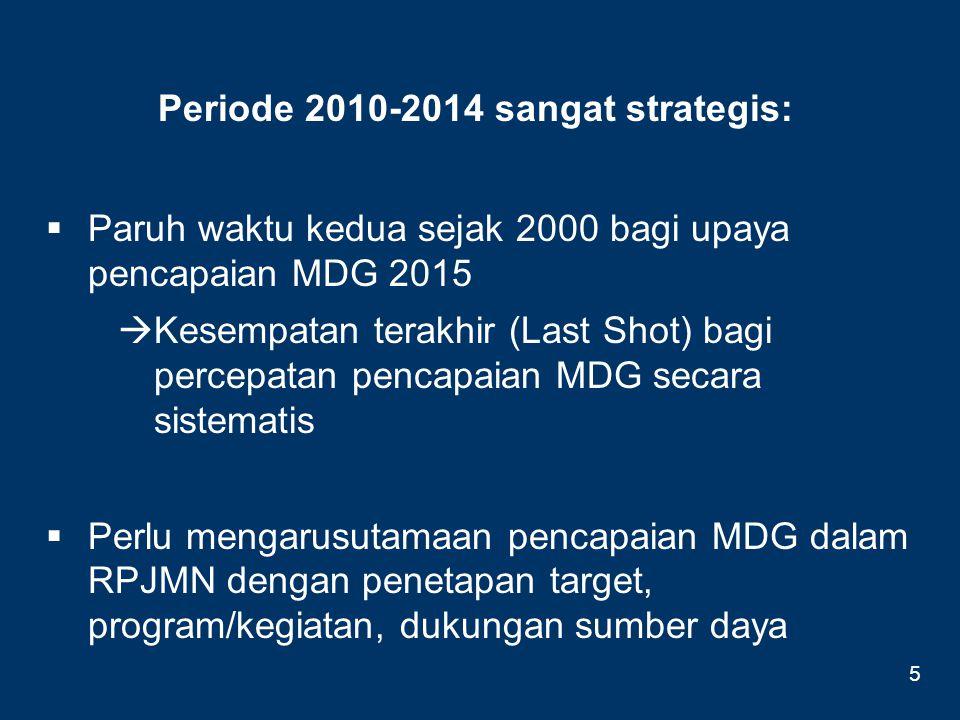Periode 2010-2014 sangat strategis:  Paruh waktu kedua sejak 2000 bagi upaya pencapaian MDG 2015  Kesempatan terakhir (Last Shot) bagi percepatan pe