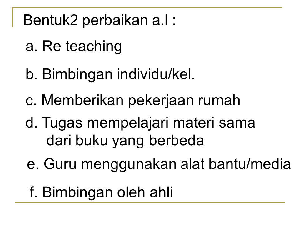 Bentuk2 perbaikan a.l : a. Re teaching b. Bimbingan individu/kel. c. Memberikan pekerjaan rumah d. Tugas mempelajari materi sama dari buku yang berbed