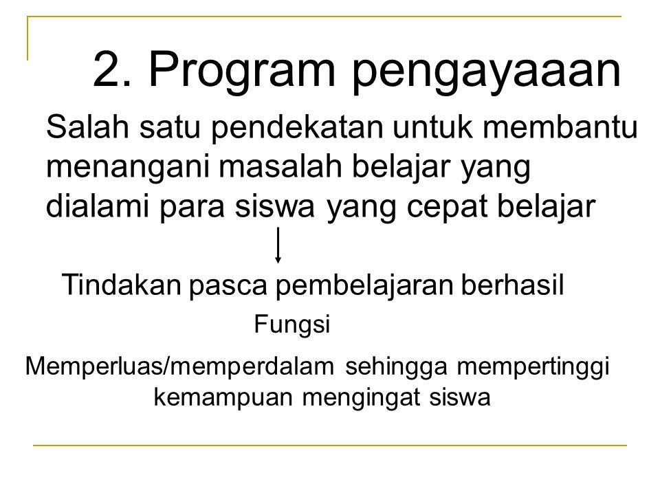 2. Program pengayaaan Salah satu pendekatan untuk membantu menangani masalah belajar yang dialami para siswa yang cepat belajar Tindakan pasca pembela