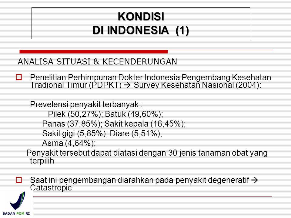 ANALISA SITUASI & KECENDERUNGAN  Penelitian Perhimpunan Dokter Indonesia Pengembang Kesehatan Tradional Timur (PDPKT)  Survey Kesehatan Nasional (20