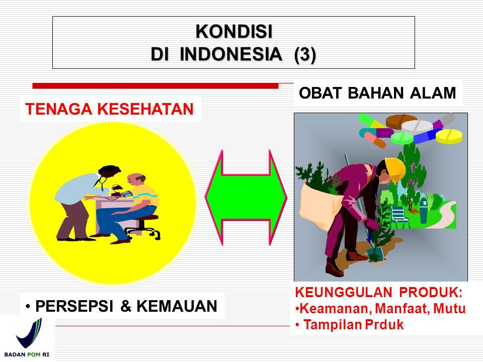TENAGA KESEHATAN OBAT BAHAN ALAM PERSEPSI & KEMAUAN KEUNGGULAN PRODUK: Keamanan, Manfaat, Mutu Tampilan Prduk KONDISI DI INDONESIA (3)
