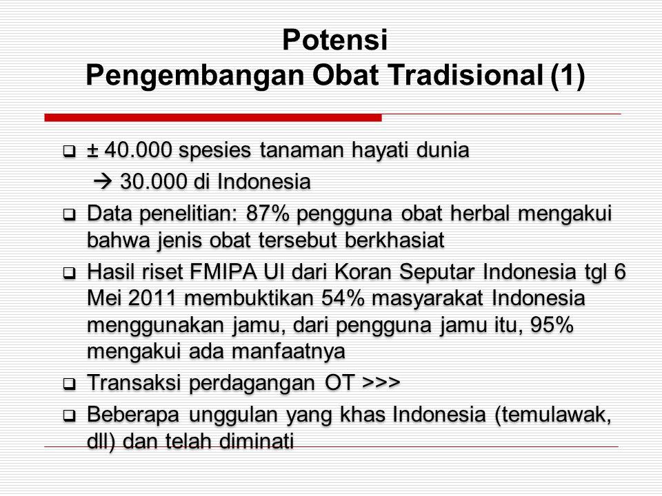 Potensi Pengembangan Obat Tradisional (1)  ± 40.000 spesies tanaman hayati dunia  30.000 di Indonesia  Data penelitian: 87% pengguna obat herbal me