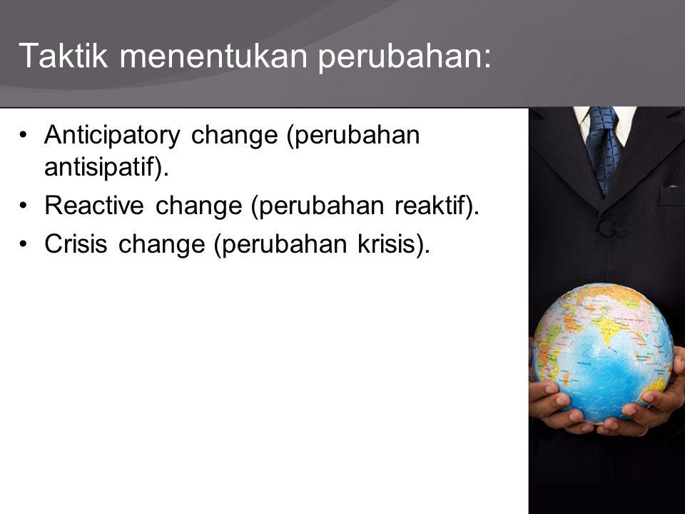 Taktik menentukan perubahan: Anticipatory change (perubahan antisipatif). Reactive change (perubahan reaktif). Crisis change (perubahan krisis).