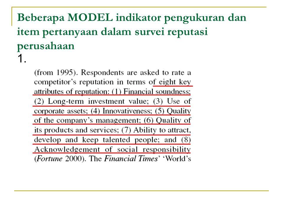 Beberapa MODEL indikator pengukuran dan item pertanyaan dalam survei reputasi perusahaan 1.
