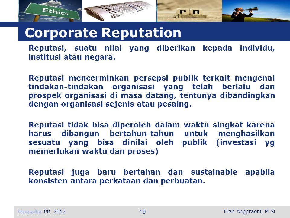 L o g o Corporate Reputation Reputasi, suatu nilai yang diberikan kepada individu, institusi atau negara.