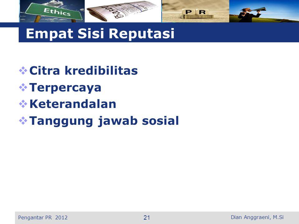 L o g o Empat Sisi Reputasi  Citra kredibilitas  Terpercaya  Keterandalan  Tanggung jawab sosial Pengantar PR 2012 21 Dian Anggraeni, M.Si