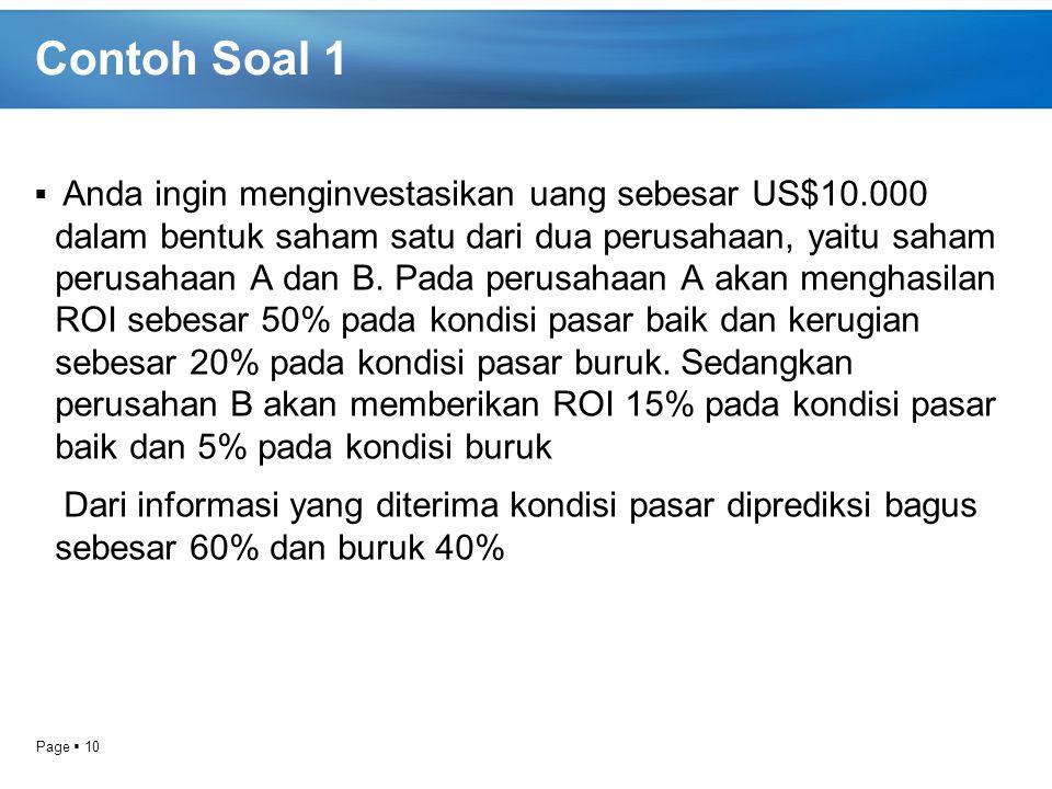 Page  10 Contoh Soal 1  Anda ingin menginvestasikan uang sebesar US$10.000 dalam bentuk saham satu dari dua perusahaan, yaitu saham perusahaan A dan