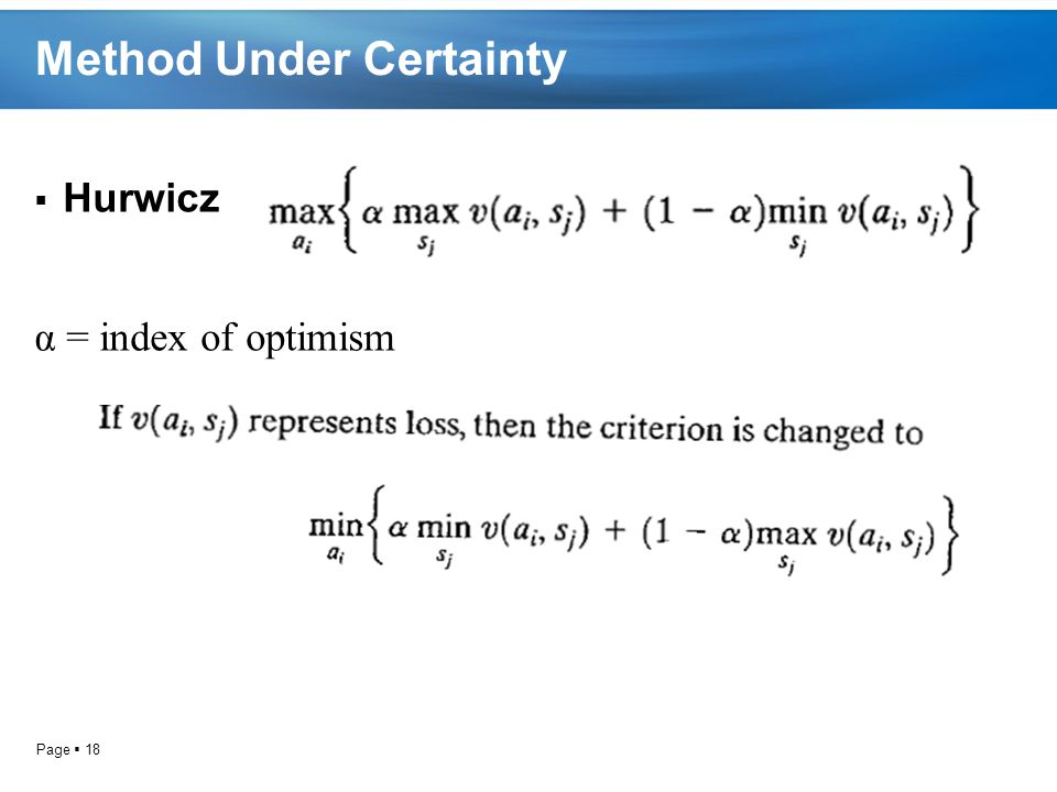 Page  18 Method Under Certainty  Hurwicz α = index of optimism
