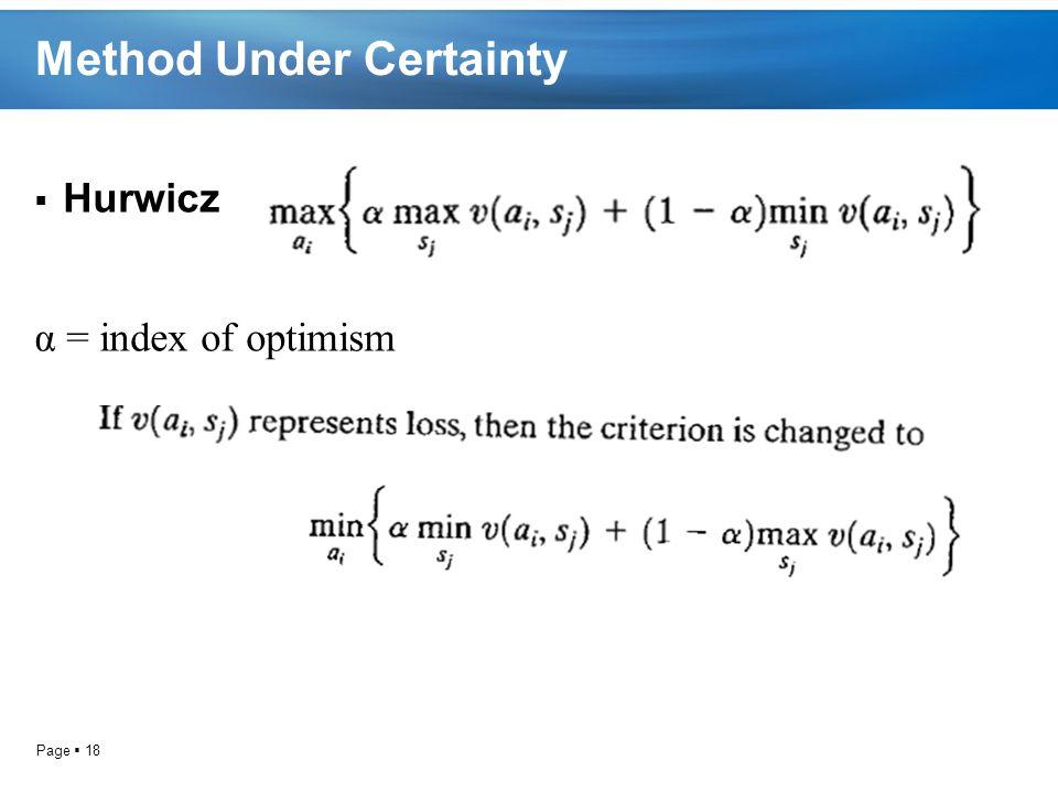 Page  18 Method Under Certainty  Hurwicz α = index of optimism
