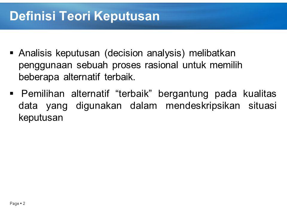 Page  2 Definisi Teori Keputusan  Analisis keputusan (decision analysis) melibatkan penggunaan sebuah proses rasional untuk memilih beberapa alterna
