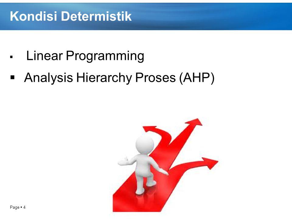 Page  4 Kondisi Determistik  Linear Programming  Analysis Hierarchy Proses (AHP)