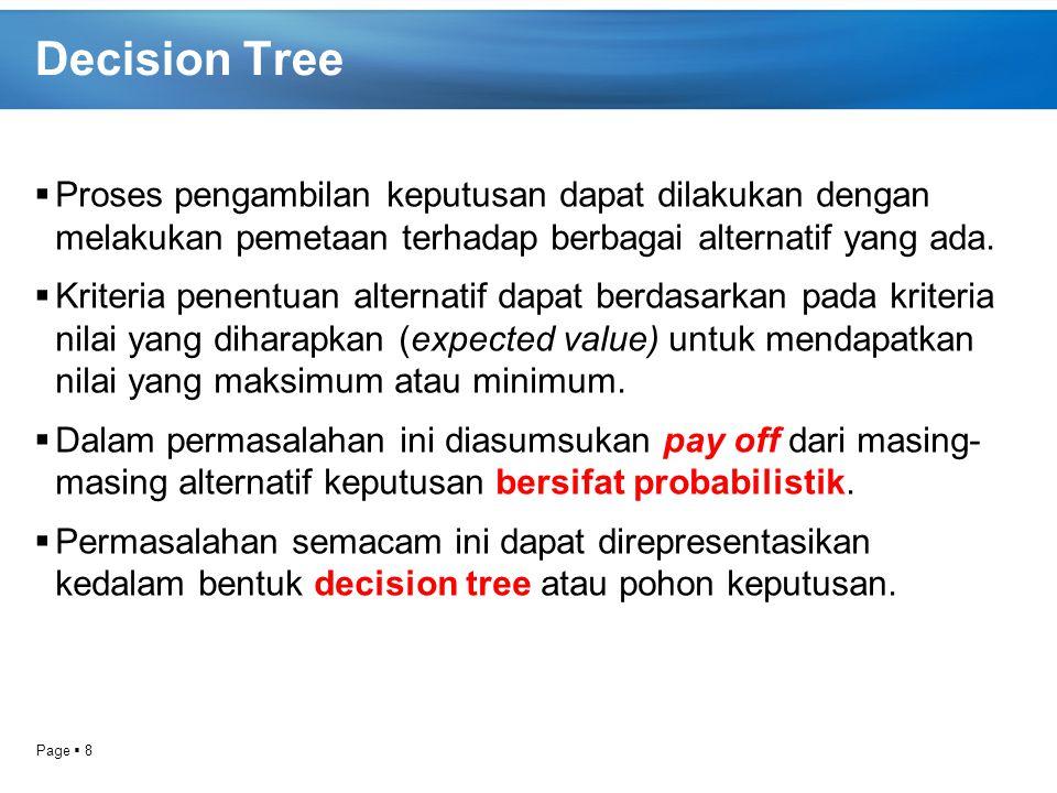 Page  8 Decision Tree  Proses pengambilan keputusan dapat dilakukan dengan melakukan pemetaan terhadap berbagai alternatif yang ada.  Kriteria pene