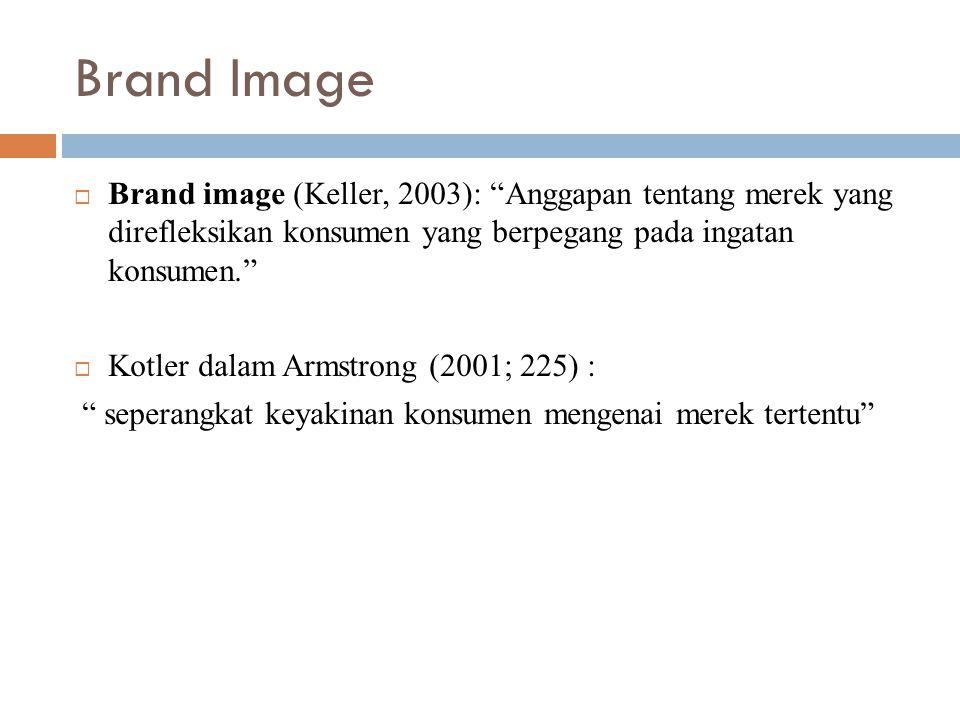 Brand Image  Brand image (Keller, 2003): Anggapan tentang merek yang direfleksikan konsumen yang berpegang pada ingatan konsumen.  Kotler dalam Armstrong (2001; 225) : seperangkat keyakinan konsumen mengenai merek tertentu