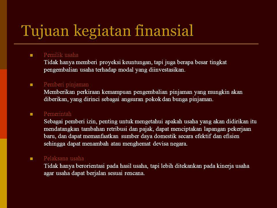 Tujuan kegiatan finansial Pemilik usaha Pemilik usaha Tidak hanya memberi proyeksi keuntungan, tapi juga berapa besar tingkat pengembalian usaha terhadap modal yang diinvestasikan.