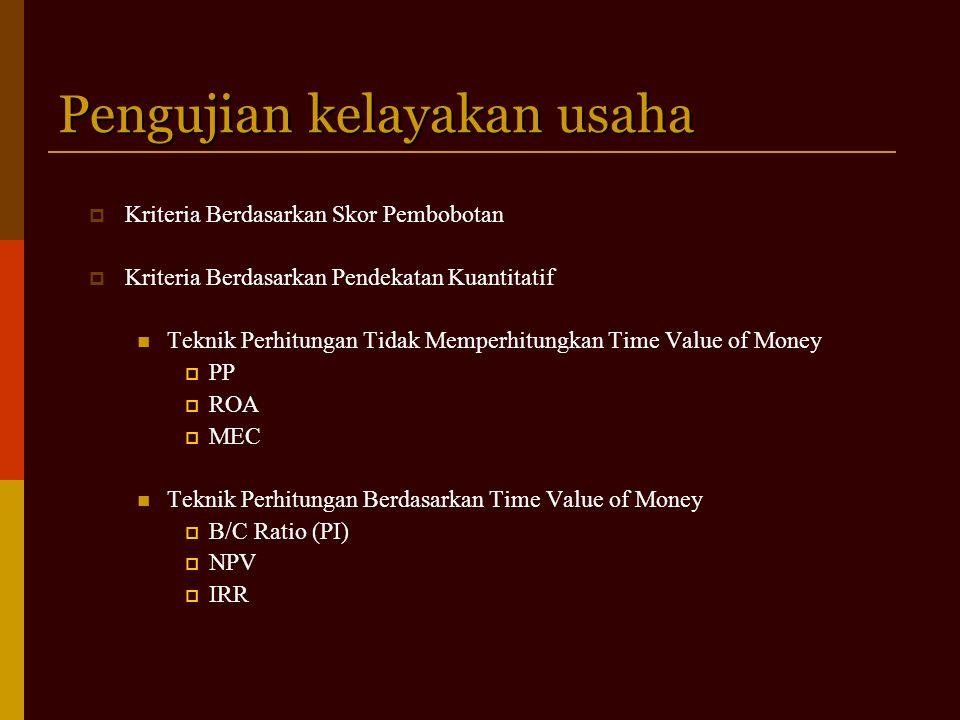 Pengujian kelayakan usaha  Kriteria Berdasarkan Skor Pembobotan  Kriteria Berdasarkan Pendekatan Kuantitatif Teknik Perhitungan Tidak Memperhitungkan Time Value of Money  PP  ROA  MEC Teknik Perhitungan Berdasarkan Time Value of Money  B/C Ratio (PI)  NPV  IRR